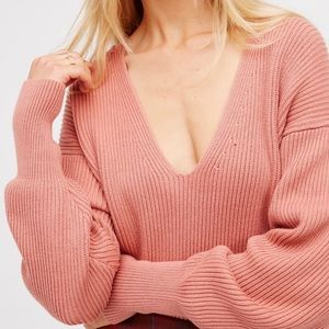 Free People Peach V Neck Allure Pullover Sweater